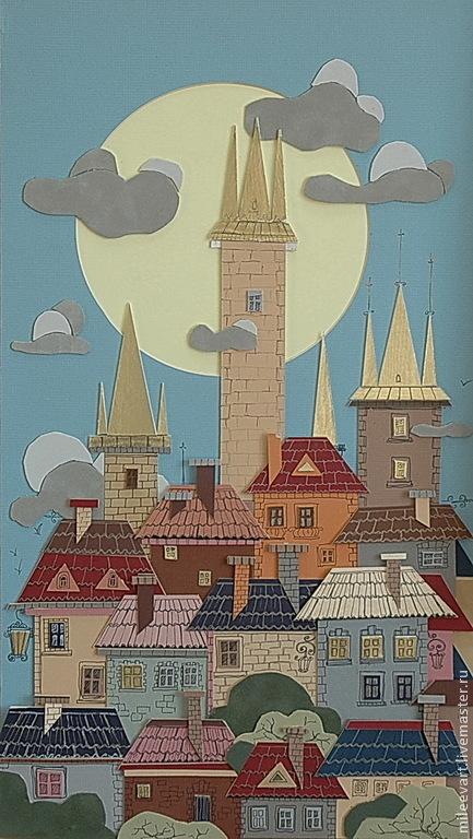 Город ручной работы. Ярмарка Мастеров - ручная работа. Купить Старый город...Авторская ручная работа. Handmade. Картина