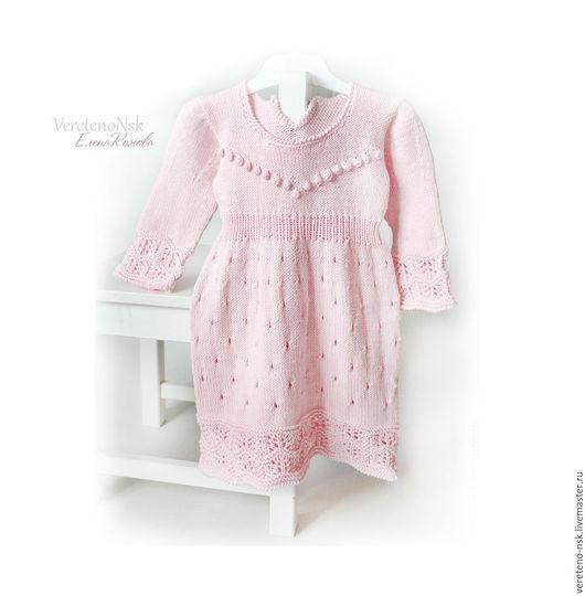 Нежное платье для малышки. Вязаное платье для девочки. Купить вязаное платье. Розовое платье. Нежно-розовое платье для малышки. Хлопковое Платье с шишечками. Демисезонное платье. Ярмарка Мастеров.