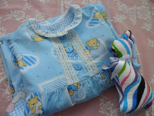 """Одежда для девочек, ручной работы. Ярмарка Мастеров - ручная работа. Купить Ночная рубашка для девочки """"Плюшевые сны"""". Handmade. Голубой"""