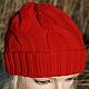 Шапки ручной работы. Ярмарка Мастеров - ручная работа. Купить Легкая шапочка с косами из мериноса. Handmade. Ярко-красный