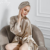 Одежда handmade. Livemaster - original item Robe made of natural silk in the color of coffee with milk. Handmade.