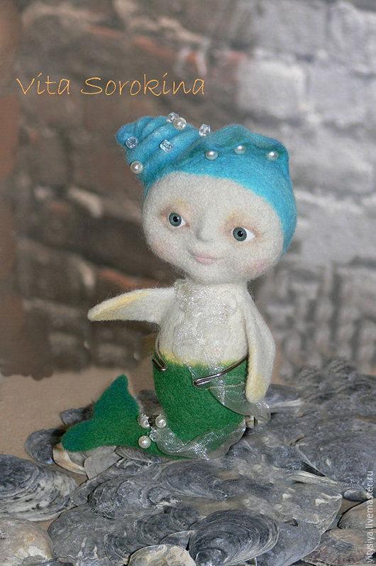 Коллекционные куклы ручной работы. Ярмарка Мастеров - ручная работа. Купить новый год игрушка валяная Русалка, Free shiping. Handmade.