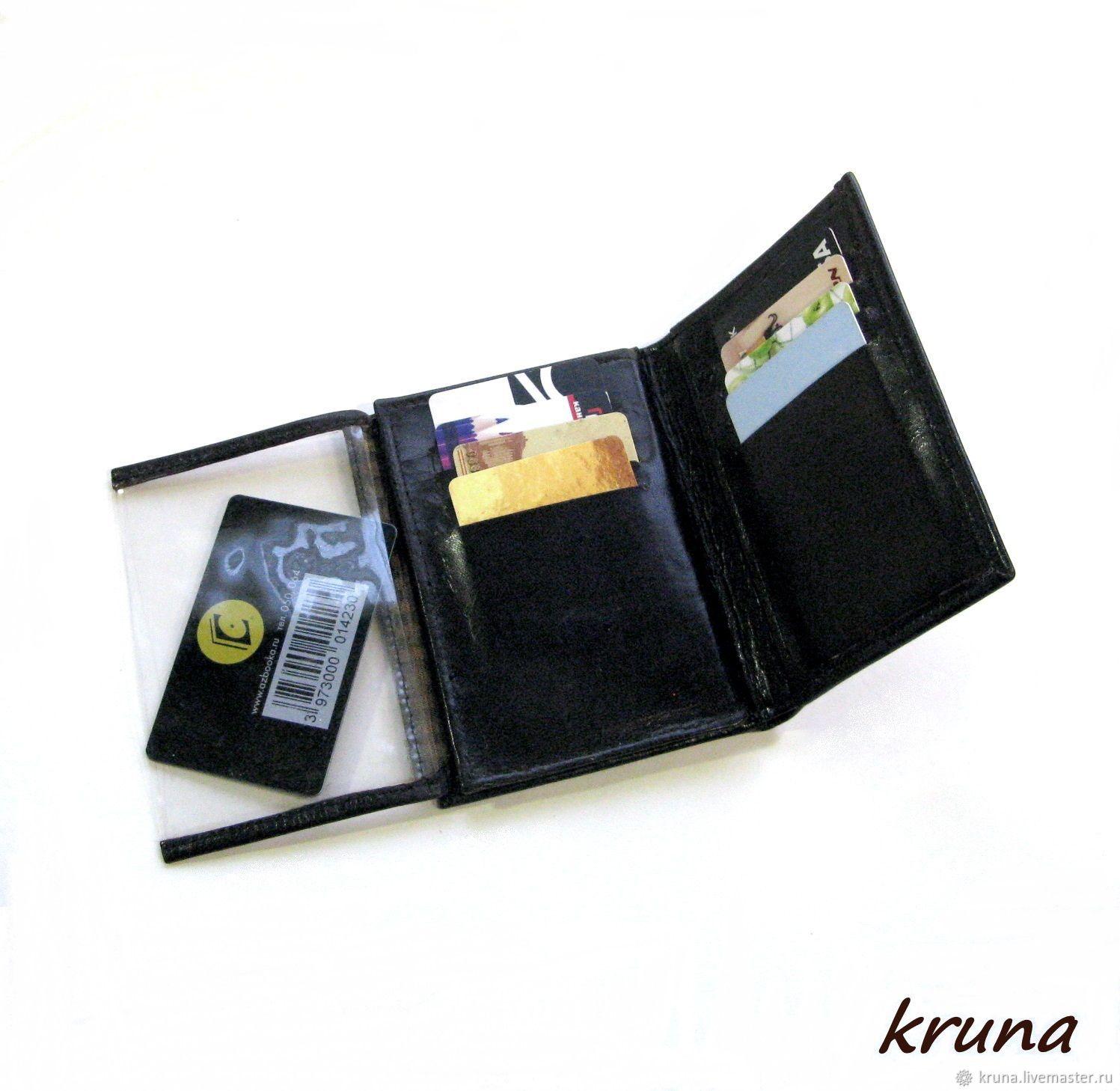 Кожаный кошелек-портмоне мужской с откидными прозрачными отсеками, Портмоне, Санкт-Петербург,  Фото №1