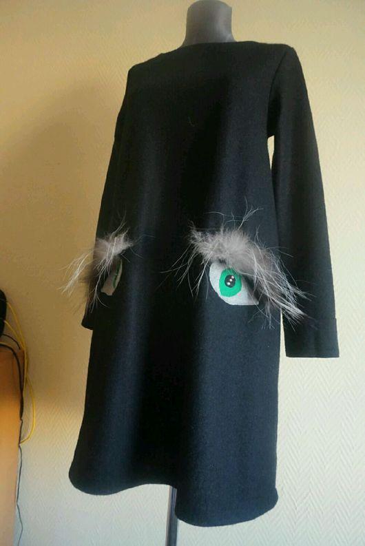 Платья ручной работы. Ярмарка Мастеров - ручная работа. Купить Платье черное с глазками. Handmade. Платье, платье модное