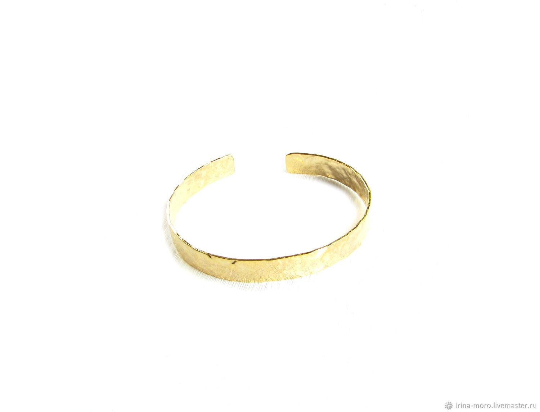 Gold crumpled bracelet 'Energy' women's metal bracelet, Hard bracelet, Moscow,  Фото №1