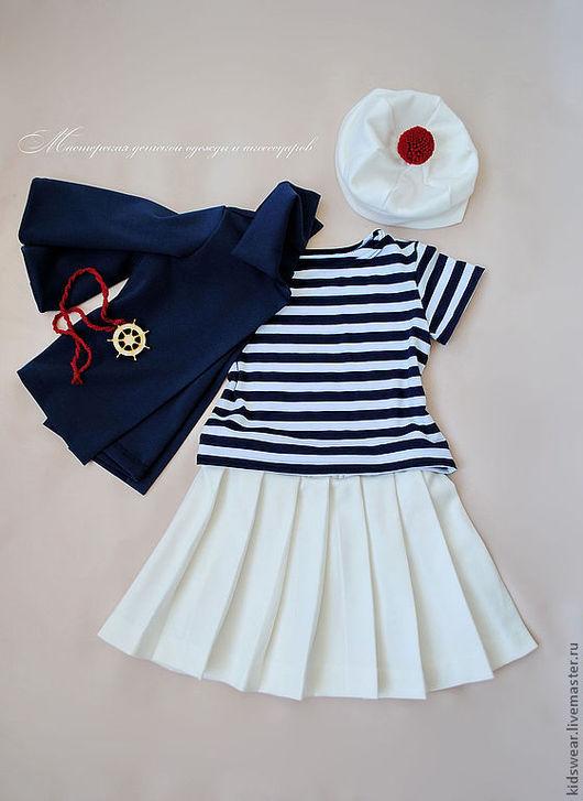 Одежда для девочек, ручной работы. Ярмарка Мастеров - ручная работа. Купить Костюм «Морячка». Handmade. Однотонный, белый цвет