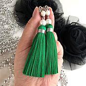 Украшения handmade. Livemaster - original item Brush earrings Fresh greenery green herbaceous silk pearl silver. Handmade.
