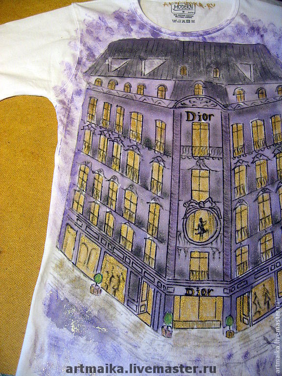 Футболка Paris...Montaigne avenue... Dior...Париж, Футболки, Москва,  Фото №1