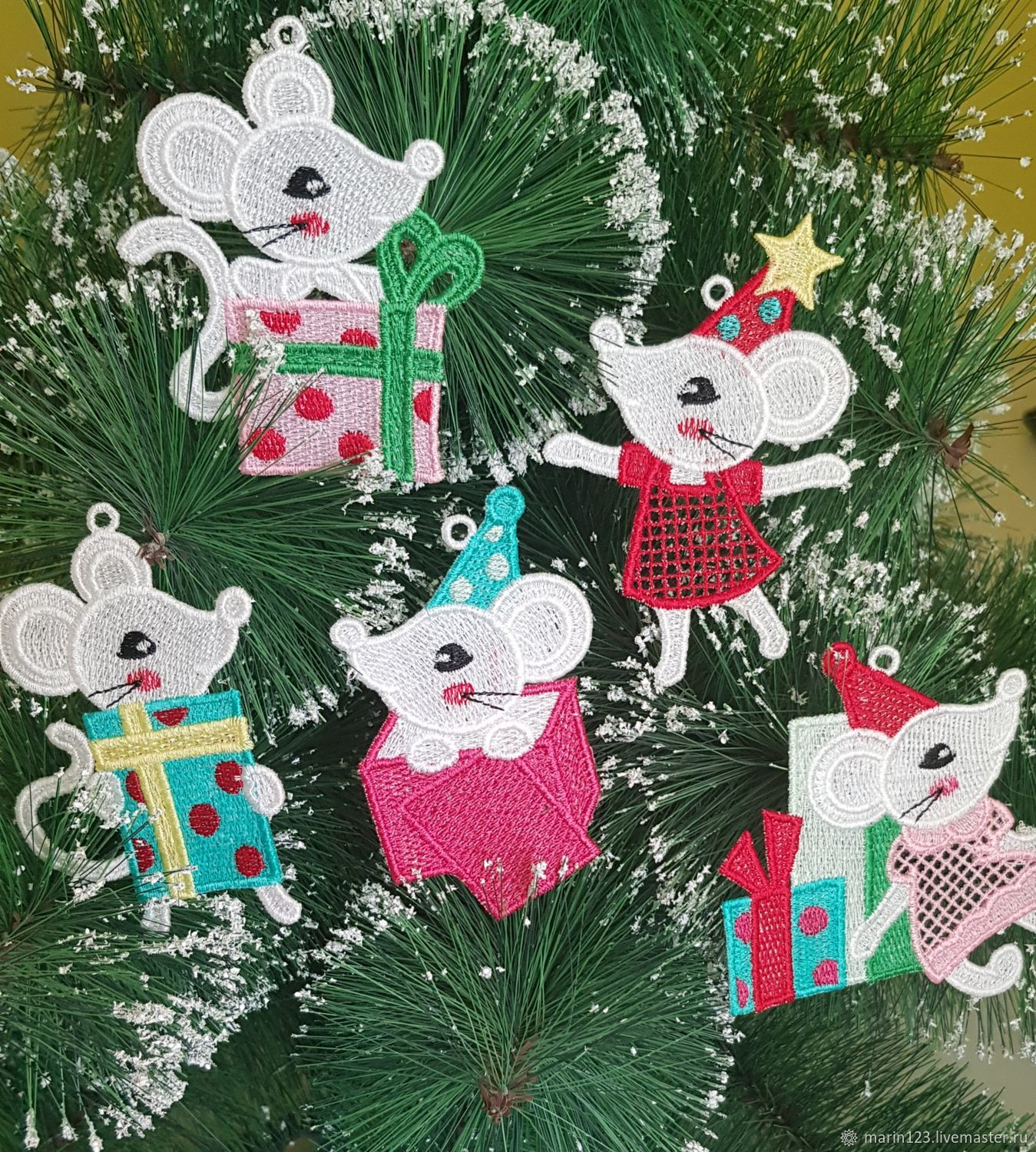 Newest Craft Ideas For Christmas 2020 White mice 2020. A set of Christmas ornaments – shop online on