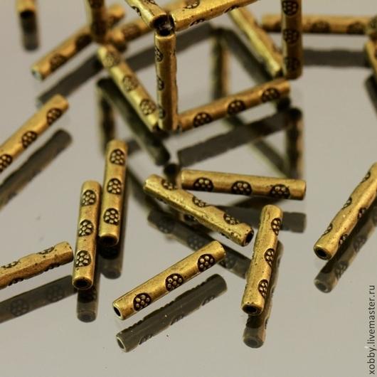 Бусины металлические трубочка с покрытием цвета бронза и этническим орнаментом для использования в сборке украшений, колье и бусах, браслетах и сережках