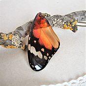 Украшения handmade. Livemaster - original item Pendant resin butterfly Wing Orange Black Jewelry Resin Boho. Handmade.
