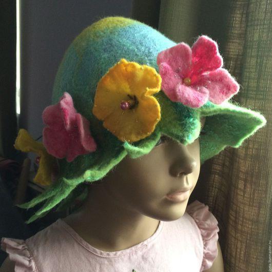 """Шляпы ручной работы. Ярмарка Мастеров - ручная работа. Купить Шапочка для сауны """" анютины глазки"""". Handmade. Комбинированный"""