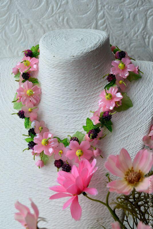 Set for girls 'Pink BlackBerry' (necklace and bracelet), Gift for newborn, Kolomna,  Фото №1
