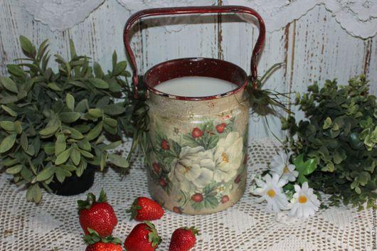 """Вазы ручной работы. Ярмарка Мастеров - ручная работа. Купить """"Земляничное лето"""" бидон-ваза. Handmade. Бордовый, ваза для цветов"""