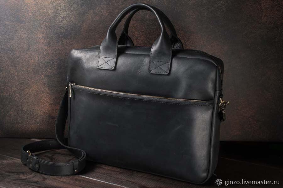 Мужской деловой портфель / сумка для ноутбука -OXFORD- цвет Черный, Классическая сумка, Тула,  Фото №1