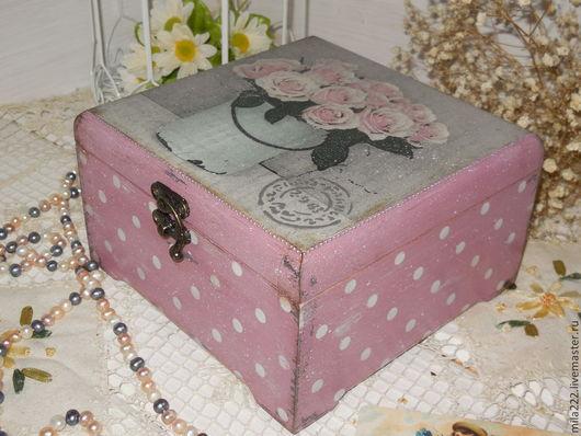 """Корзины, коробы ручной работы. Ярмарка Мастеров - ручная работа. Купить """"Утро в Провансе"""" короб. Handmade. Розовый"""