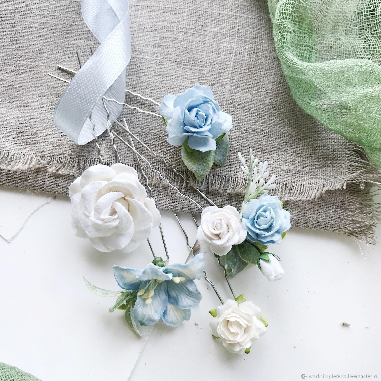 Комплект шпилек с молочными и голубыми цветами, шпильки для невесты, Украшения, Санкт-Петербург, Фото №1