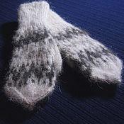 Аксессуары handmade. Livemaster - original item Children`s knitted mittens with a high ribbing. Handmade.