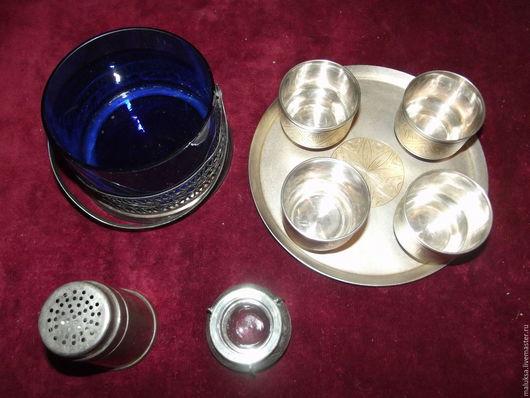 Винтажная посуда. Ярмарка Мастеров - ручная работа. Купить Разное: мельхиор, солонка серебрение, конфетница СССР. Handmade. Тёмно-синий