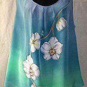 Одежда ручной работы. Ярмарка Мастеров - ручная работа Блуза-топ``Цветы-бабочки``(Батик). Handmade.