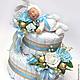 """Подарки для новорожденных, ручной работы. Ярмарка Мастеров - ручная работа. Купить Бэби-торт """"Сплюшка-заинька"""" (голубой). Handmade. Голубой"""