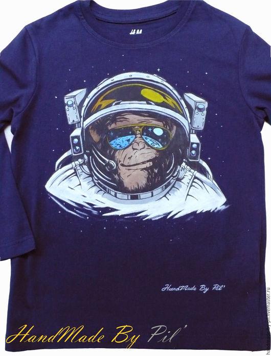 """Футболки, майки ручной работы. Ярмарка Мастеров - ручная работа. Купить Лонгслив """"Monkey Astronaut"""". Handmade. Тёмно-синий, космонавт"""