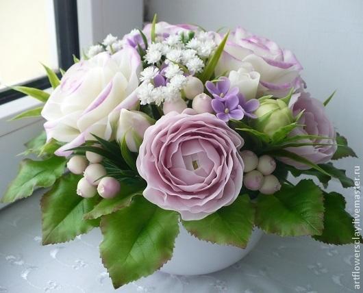 Букеты ручной работы. Ярмарка Мастеров - ручная работа. Купить Букет с розами и ранункулюсами. Handmade. Розовый, полимерная глина