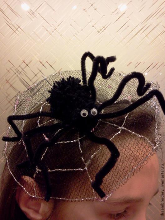 Подарки на Хэллоуин ручной работы. Ярмарка Мастеров - ручная работа. Купить шляпка с пауком. Handmade. Черный, для девушки, вязаный