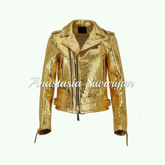 """Верхняя одежда ручной работы. Ярмарка Мастеров - ручная работа. Купить Куртка из натуральной кожи питона """"  Желтое Золото """". Handmade."""