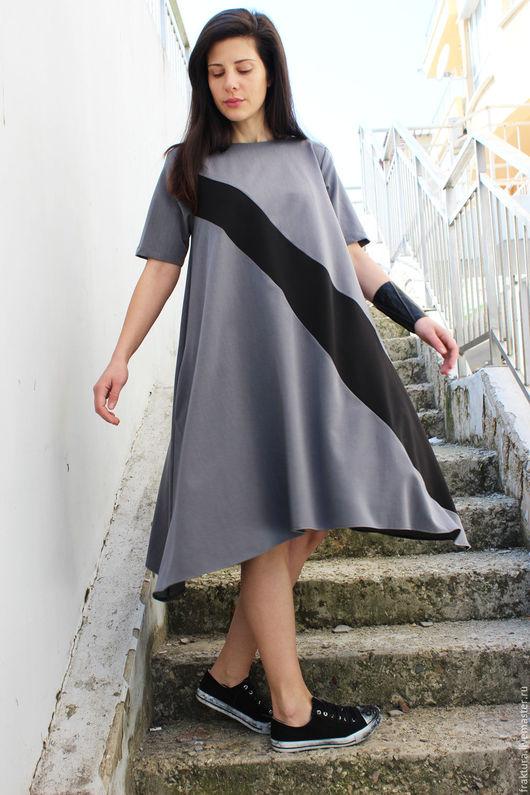 """Платья ручной работы. Ярмарка Мастеров - ручная работа. Купить Платье """"Spring Half Line- grey"""" D0027. Handmade. Платье"""