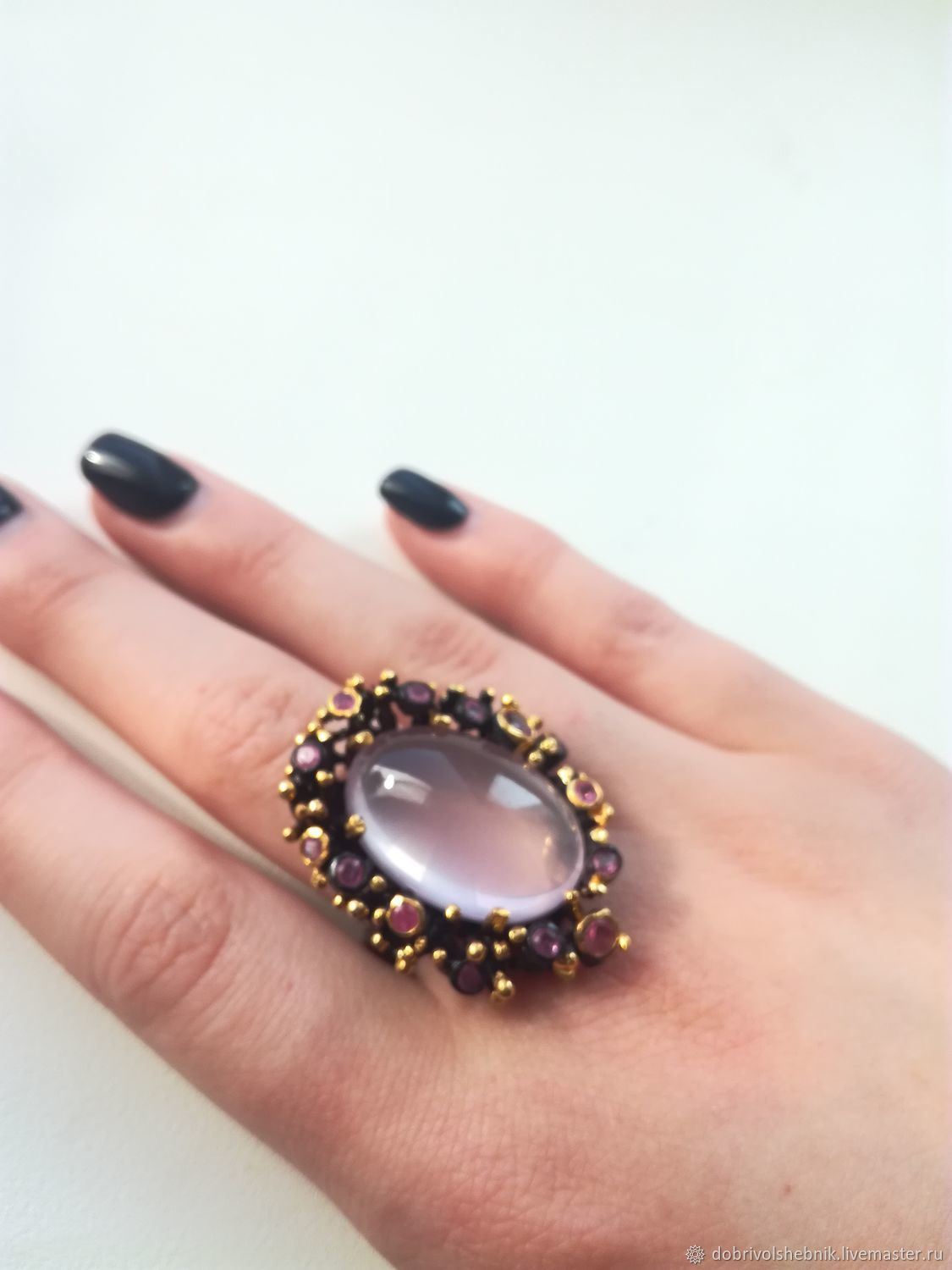 Penelope ring with rose quartz and rubies, Rings, Novaya Usman,  Фото №1