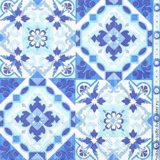 Декупаж и роспись ручной работы. Ярмарка Мастеров - ручная работа. Купить Синие плитки (13309317) 33х33 салфетка для декупажа. Handmade.