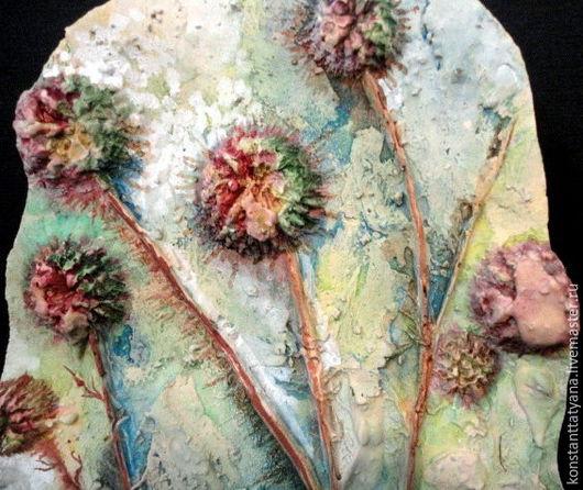 """Картины цветов ручной работы. Ярмарка Мастеров - ручная работа. Купить """" Утро в горах"""" гипсовое панно. Handmade. Комбинированный"""