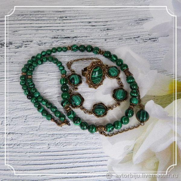Set of malachite jewelry (necklace, bracelet, ring), Jewelry Sets, Smolensk,  Фото №1