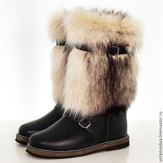 Обувь ручной работы. Ярмарка Мастеров - ручная работа. Купить Унты мужские собака (подошва войлок). Handmade. Черный, зима