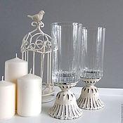 Для дома и интерьера ручной работы. Ярмарка Мастеров - ручная работа Ваза вазон подсвечник  стекло  металл шебби. Handmade.