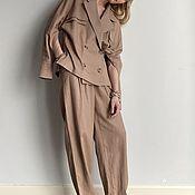 Одежда handmade. Livemaster - original item Coffee-colored linen suit with patch pockets. Handmade.