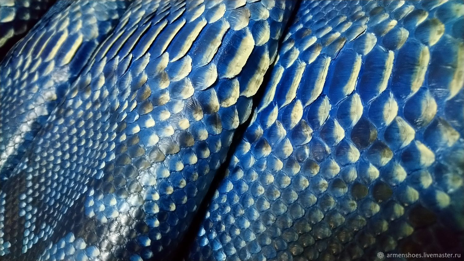 Python skin, thick finish, in an exclusive color, blue and silver, Leather, Tosno,  Фото №1
