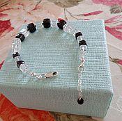 Украшения handmade. Livemaster - original item Bracelet made of black spinel cube, rock crystal and 925 silver. Handmade.