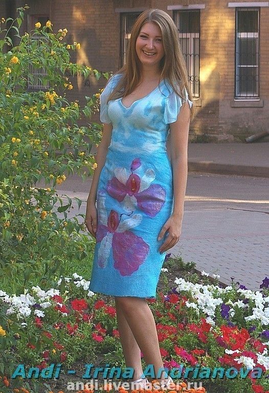 Dresses handmade. Livemaster - handmade. Buy Dress 'Orchid'.Author's dress, silk, fashion clothes, silk is a natural