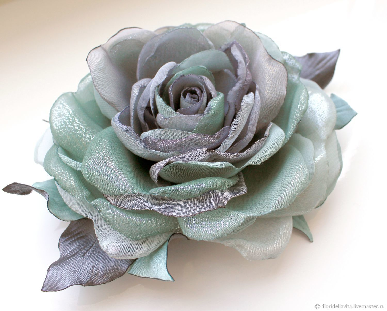 FABRIC FLOWERS. Chiffon rose ' Watercolor olive ', Brooches, Vidnoye,  Фото №1
