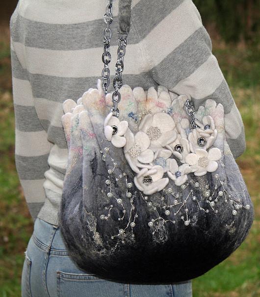 Женские сумки ручной работы. Ярмарка Мастеров - ручная работа. Купить серебряный бриз. Handmade. Авторская сумка, 100% шерсть