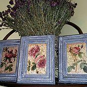 """Картины ручной работы. Ярмарка Мастеров - ручная работа Картины-триптих в состаренных багетах """"Три розы"""" PF0089. Handmade."""