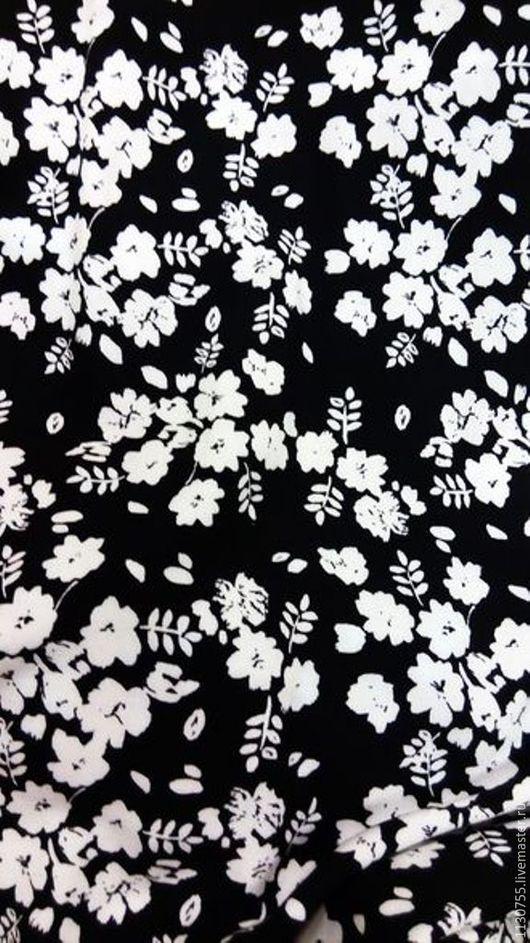 Шитье ручной работы. Ярмарка Мастеров - ручная работа. Купить ткань штапель  черный белые цветы. Handmade. Комбинированный, штапель