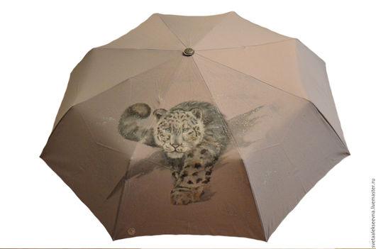 """Зонты ручной работы. Ярмарка Мастеров - ручная работа. Купить Зонт с ручной росписью """"Снежный барс"""". Handmade. Серый"""