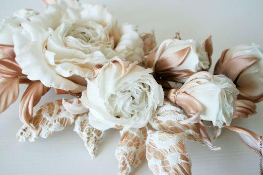 """Свадебные украшения ручной работы. Ярмарка Мастеров - ручная работа. Купить Композиция из роз """"Paloma"""". Ветка роз, цветы из шелка, шелковые розы. Handmade."""