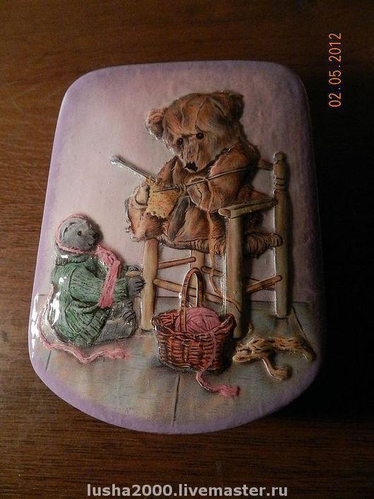 """Шкатулки ручной работы. Ярмарка Мастеров - ручная работа. Купить шкатулка """"Мишка вяжет"""" продано. Handmade. Шкатулка, мишки тедди"""
