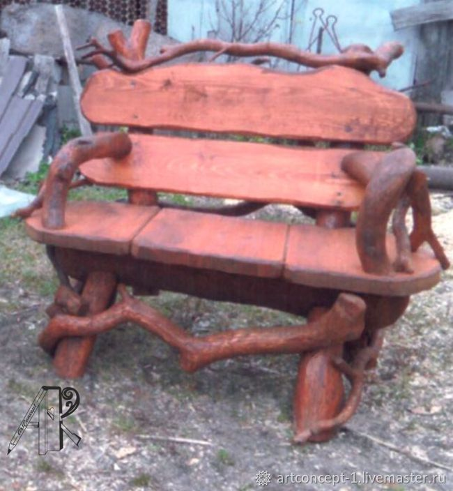 Chair garden bench made of pine and driftwood, Chairs1, Ryazan,  Фото №1
