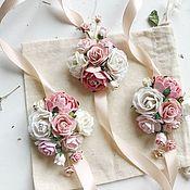 Браслеты ручной работы. Ярмарка Мастеров - ручная работа Браслет для подружек невесты с розовыми и персиковыми цветами. Handmade.