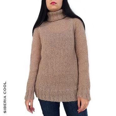 Одежда ручной работы. Ярмарка Мастеров - ручная работа Свитер женский Нежность, вязаный спицами, бежевый, мохер, шерсть. Handmade.